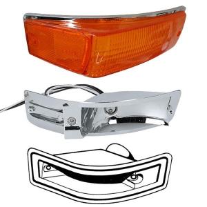 Karmann Ghia Amber Indicator Lens, Bulb Holder And Seal Bundle Kit - 1970-74 - Right