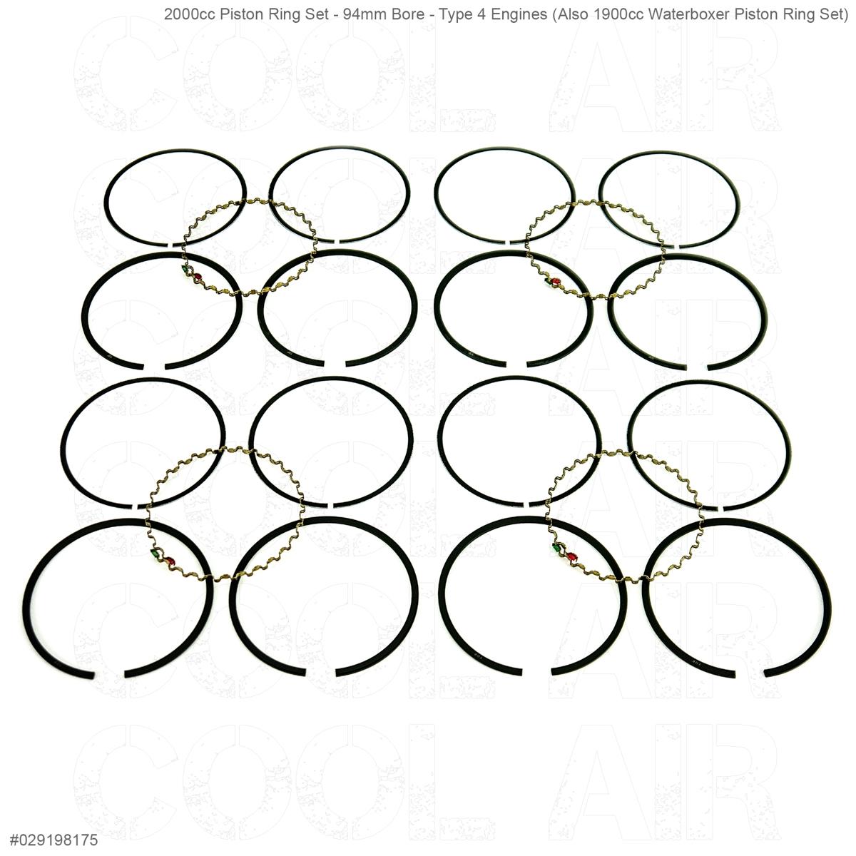 2000cc Piston Ring Set - 94mm Bore - Type 4 Engines (Also 1900cc Waterboxer Piston Ring Set)