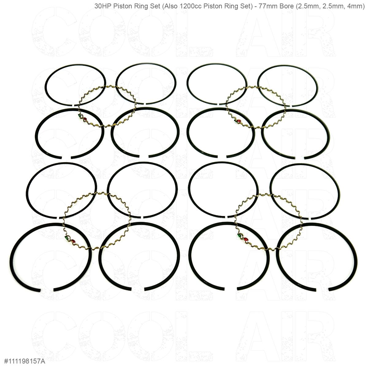 30HP Piston Ring Set (Also 1200cc Piston Ring Set) - 77mm Bore (2.5mm, 2.5mm, 4mm)