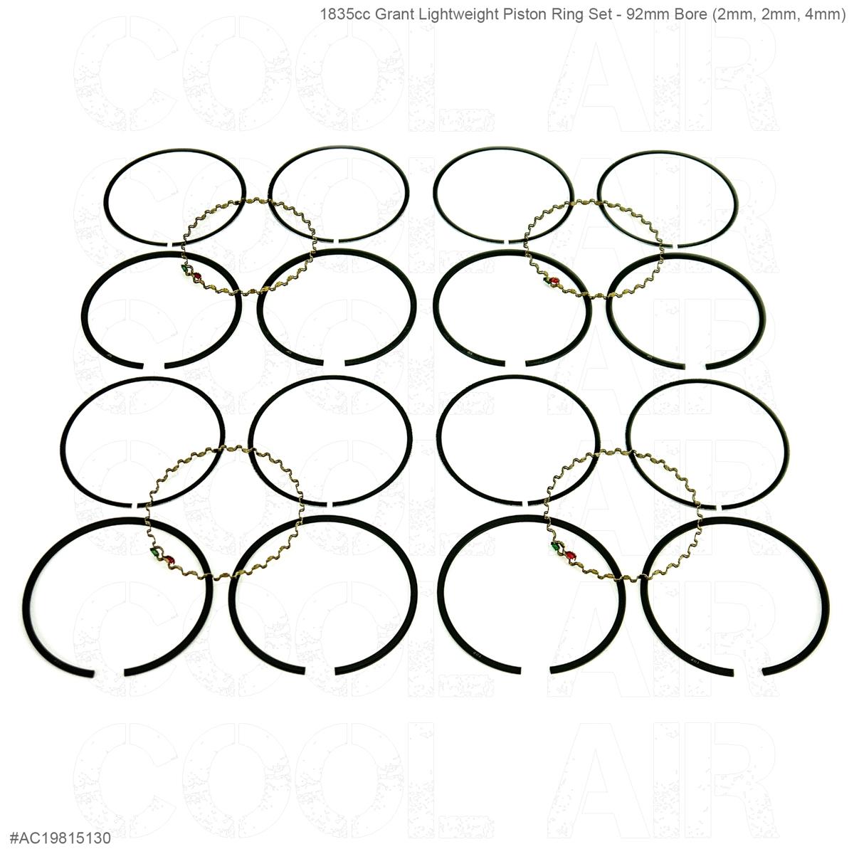 1835cc Grant Lightweight Piston Ring Set - 92mm Bore (2mm, 2mm, 4mm)