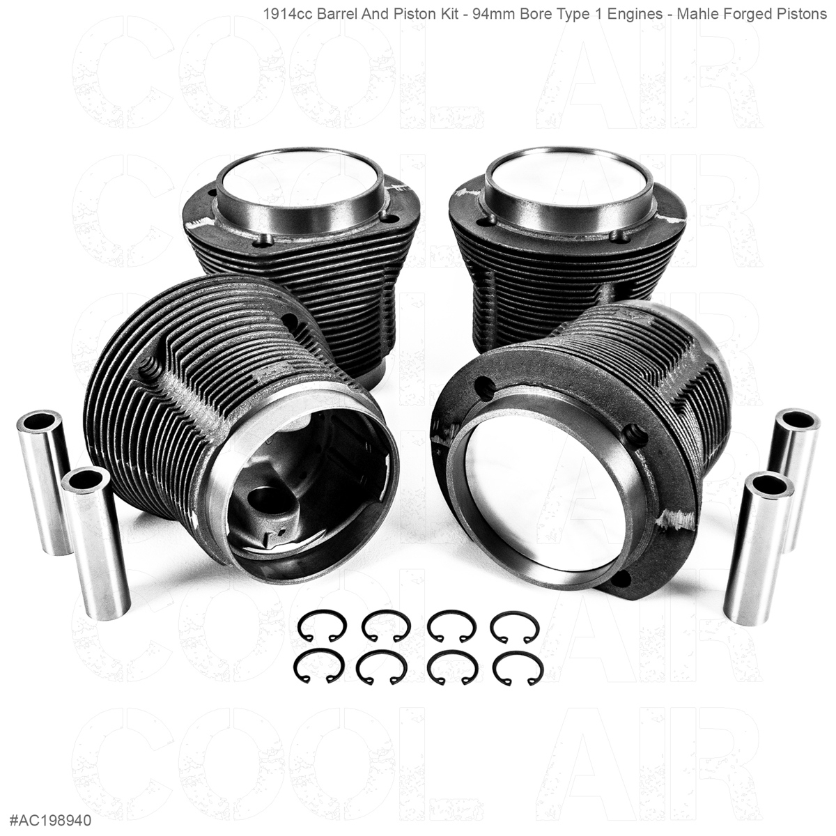 1914cc Barrel And Piston Kit - 94mm Bore Type 1 Engines - Mahle Forged Pistons
