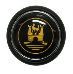 Splitscreen Bus Steering Wheel Horn Push - Black With Gold Wolfsburg Logo (Also 1950-59 Beetle)
