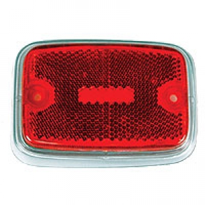 US Spec Baywindow Bus Rear Side Marker Lens - Red Lens With Silver Surround - 1971-79