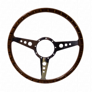 SSP Mahogany Steering Wheel - 380mm - 18 Rivets - Holed Spokes - No Dish