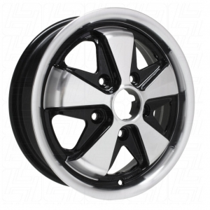 TUV Approved 4.5 x 15 Black + Polished SSP Fook Alloy Wheel - 5x130 PCD
