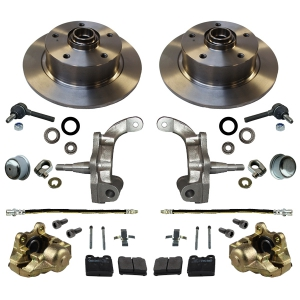 Beetle Front Disc Brake Conversion Kit 5x130 With Drop Spindles (Porsche Pattern) - 1950-65