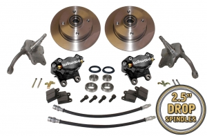 Beetle Front Disc Brake Conversion Kit 4x130 With Drop Spindles And Black Wilwood Calipers - 1966-79