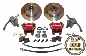 Beetle Front Disc Brake Conversion Kit 4x130 With Drop Spindles And Red Wilwood Calipers - 1966-79
