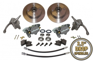 Beetle Front Disc Brake Conversion Kit 4x130 With Drop Spindles And Silver Wilwood Calipers - 1966-79