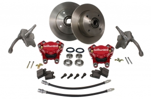 Beetle Front Disc Brake Conversion Kit - 1966-79 - With Red Wilwood Calipers