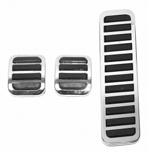 Chrome And Black Accelerator, Clutch And Brake Pedal Cover Set
