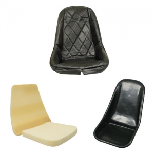 EMPI Buggy Plastic Bucket Seat Bundle Kit - Low Back With Black Diamond Covers