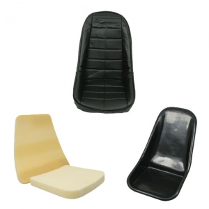 EMPI Buggy Plastic Bucket Seat Bundle Kit - Low Back With Black Square Covers