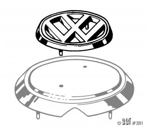 Karmann Ghia VW Bonnet Badge - 1962-74