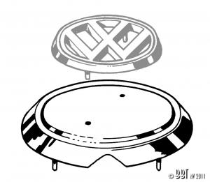 Karmann Ghia VW Bonnet Badge Base - 1962-74