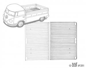 Splitscreen Pickup Load Bed Rear Half Ribbed Floor (1665mm X 900mm)