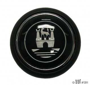 **ON SALE** Splitscreen Bus Steering Wheel Horn Push - Black With Silver Wolfsburg Logo (Also 1950-59 Beetle)