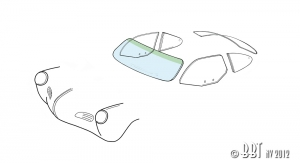 Karmann Ghia 56-74 Front Windscreen - Clear Glass With Green Top
