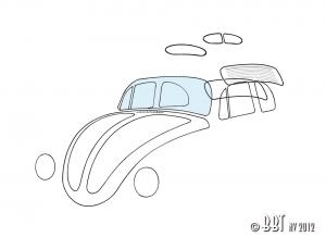Beetle Front Windscreen Glass - 1958-64