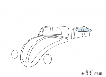 Beetle Cabriolet Rear Window - Clear Glass - 1962-74