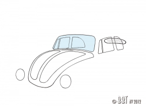 Beetle Cabriolet Front Windscreen (Curved Screen Models) - Clear Glass - 1303 Models