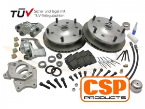 CSP Type 3 (27mm Inner Wheel Bearing) Wide 5 Front Disc Brake Conversion - 5x205 PCD - Vented - Cross Drilled