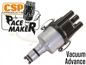 CSP Pacemaker Distributor - Vacuum Advance With Silver Body And Black Cap