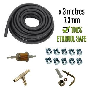 7.3mm Ethanol Safe Fuel Hose Bundle Kit With Fuel Tank Connection + T-Piece