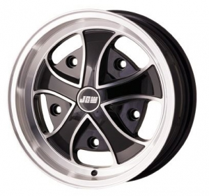 5x205 PCD JBW Iron Cross Alloy Wheel (5.5x15) In Black With Machined Highlights